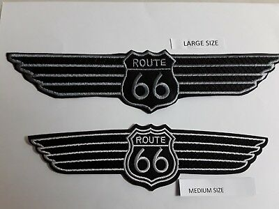 """1+1 pc """"L""""+""""M"""" Shield shape Route 66 on wing emb patches sew/iron on"""
