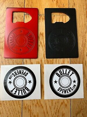 2x Credit Card Style / Size Metal Bottle Opener For Wallet (Matte Black & Red)