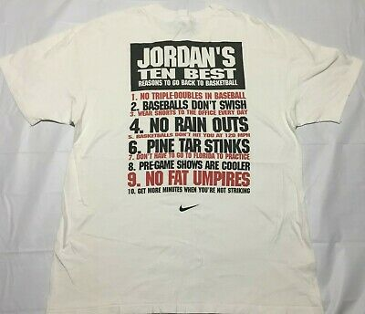 516917eebac5a1 VINTAGE 90S NIKE Jordan Baseball T shirt Ten Best Reasons XL ...