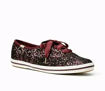 fe07f8651e84 KATE SPADE FOR KEDS Fashion Sneakers red Glitter Deep Cherry 7 run ...