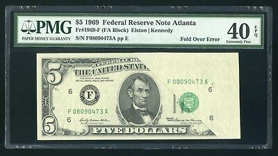 $5 1969 Federal Reserve Note Fr.1969F - Fold Over Error, Obstructed