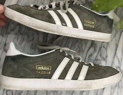 ab20cd14fe ADIDAS MENS GAZELLE Shoes Solid Gray Suede White Leather Trim Sneakers Sz  US 8.5