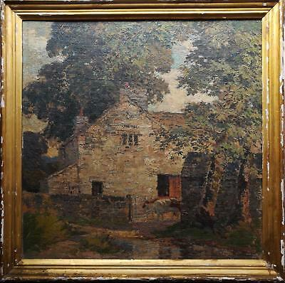 """Percy Lancaster Early 20Th C. Original Signed Landscape Oil Painting """"Farm Pool"""""""
