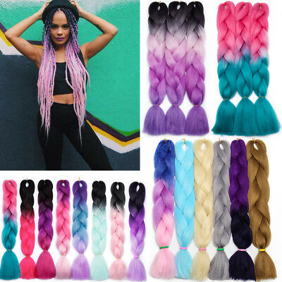US Real Kanekalon Braiding Hair Extension Crochet Jumbo Braids Ombre Purple Pink