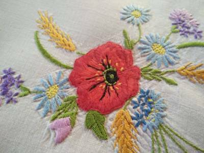 Gorgeous Meadow Flower Posy ~ Vintage Hand Embroidered Centrepiece/mat