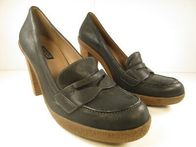 748defc4a99 Ecco Womens High Heels Penny Loafer Style Black Soft Leather Size 41EU  10-10.5US
