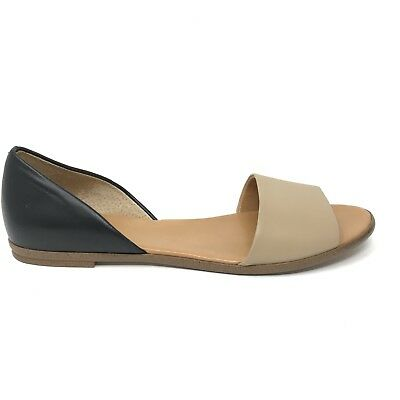 08554d34767 J. Crew Factory Womens Size 9.5 Colorblock Peep Toe D Orsay Flats Black Tan