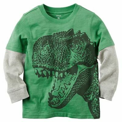 Carters Dinosaur Tee Shirt Mock Layered Long Sleeve Top Baby Boy 3 Months NWT