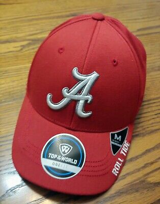 best service 2e951 55335 Alabama Crimson Tide Top Of The World NCAA-Premium One Fit Memory Fitted Hat  New