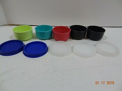 Vintage Lot 5 Tupperware Smidget Mini Bowl Pill Box Smidgets Red Blue Green