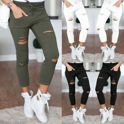 Women's Skinny Ripped Pants High Waist Stretch Jeans Slim Pencil Trousers Ladies