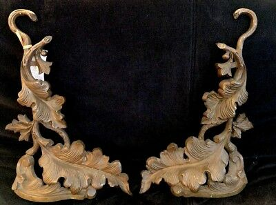 Set Of 2 Andirons Leaf Solid Bronze Fireplace Rococo