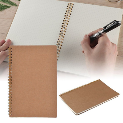 100 Pages A5 Design Dotted Grid Spiral Notebook Kraft Cover Coil Notepad Journal