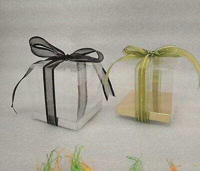 Clear PVC Boxes Square 8 cm Wedding Party Favor Gift Silver Gold No Base 250/500