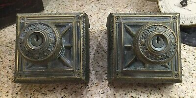 Two Awesome Vintage Detailed Ornate Cast Metal Doorknob Plate/Door Knob Book End