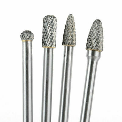 4Pc Rotary Burr 1/4'' Shank 6'' Long Reach Double Cut Carbide Milling Drill Bits