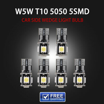 6x T10 Led Canbus Error Free 5 SMD Car Side Wedge Light Bulb White 168 194 W5W F
