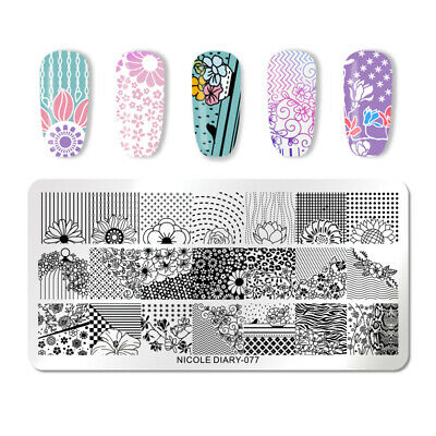NICOLE DIARY Nail Stamping Plates Flowers Geometry Nail Art Design Stencil 077