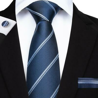 Classic Mens Tie Blue Striped Silk Tie Set Hanky Cufflinks Business High Quility