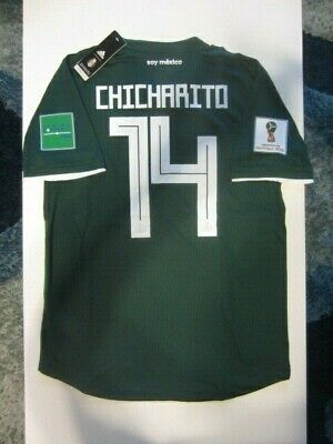 wholesale dealer 82af7 85b2d ADIDAS CHICHARITO MEXICO 2018 World Cup Home Authentic Player Jersey Patches