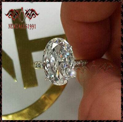 3Ct Oval-Cut Moissanite Solitaire Engagement Wedding Ring 10K White Gold Finish
