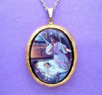 Porcelain GUARDIAN ANGEL & GIRL & MOTHER CAMEO Locket Necklace for Birthday Gift