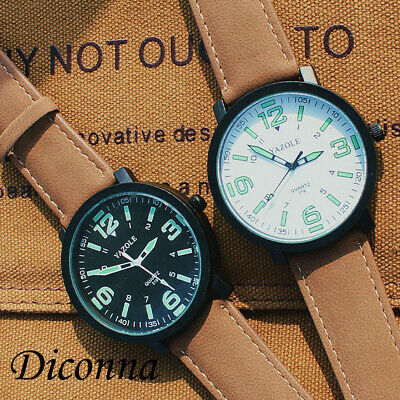 Mens Military Leather Date Quartz Analog Army Casual Dress Wrist Watches
