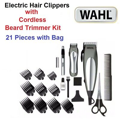 WAHL Mens Hair Clippers Grooming Haircut Set Cordless Beard Trimmer Shaver 21Pcs