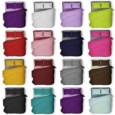 Plain Dyed Duvet Quilt Cover Bedding Set With Pillowcase Single Double King Size