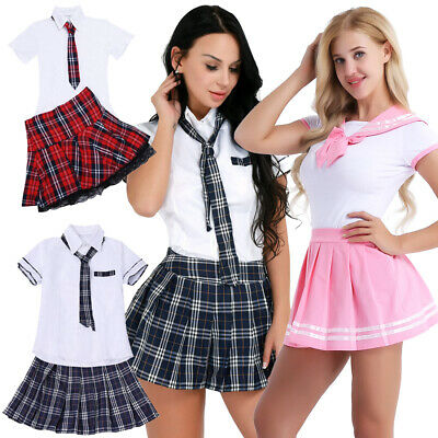 Women's Sexy Lingerie School Girl Uniform Cosplay Students Outfit Costumes Dress