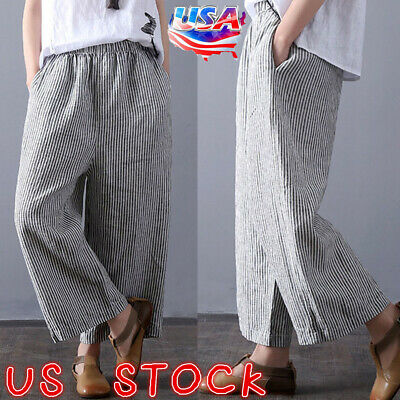 Plus Size Women Cotton Loose Wide Leg Harem Pants Ladies Casual Baggy Trousers