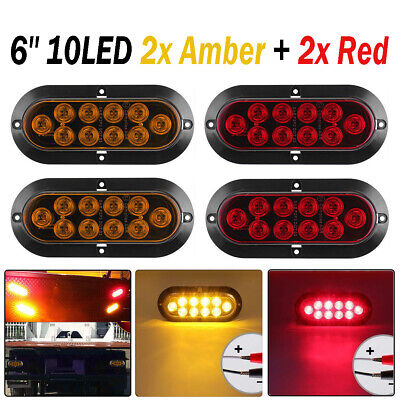 "4X 10LED 6"" Red Amber Lens Oval Surface Mount Stop Tail Light Car Truck Trailer"