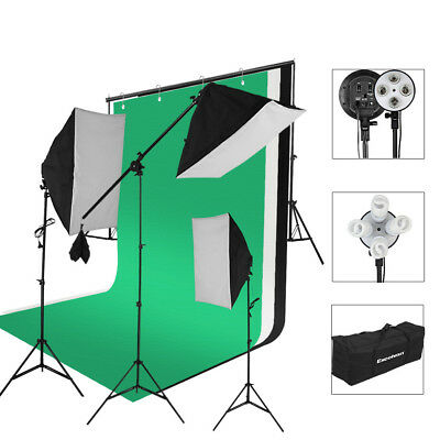 2000W Photo Studio LED Kit de iluminación continua Softbox+Base de lampara+Fondo