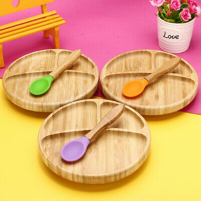 Baby Bamboo Suction Bowl & Feeding Plate with Fork and Spoon-Food Grade Silicone