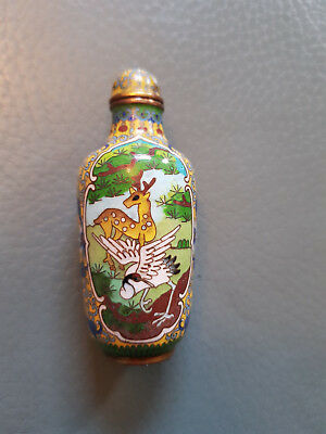 Very Fine Cloisonné Snuff Bottle China With Landscape Deers And Birds Decoration