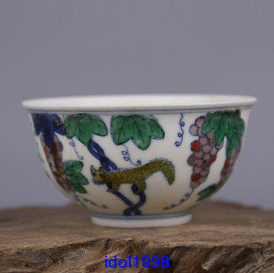 China old antique Ming Dynasty Polychrome Grape stripe Teacup
