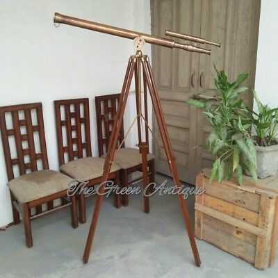 Antique Brass Double Barrel Telescope With Heavy Tripod Stand Maritime Gift