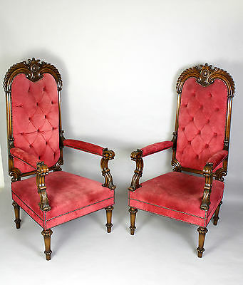 A Large & Ornate Pair Of Walnut Armchairs With Carved Crest Rails