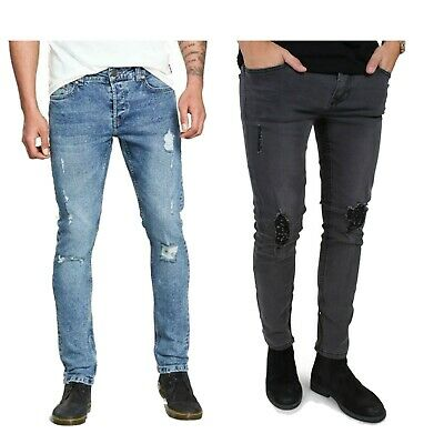 Only & Sons Mens Skinny Slim Fit Ripped Denim Jeans Casual Stretchy Pants 28-36
