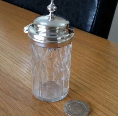 Vintage Glass Mustard Condiment Believed Silver Plated Lid High Quality Item