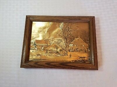 Vintage dufex Gold Foil Framed picture f.j.warren limited winter in the country