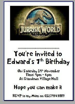 Personalised Paper Card Party Invites Invitations Jurassic Park