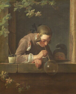 Jean Baptiste Simeon Chardin Soap Bubbles  Giclee Canvas Print Paintings Poster