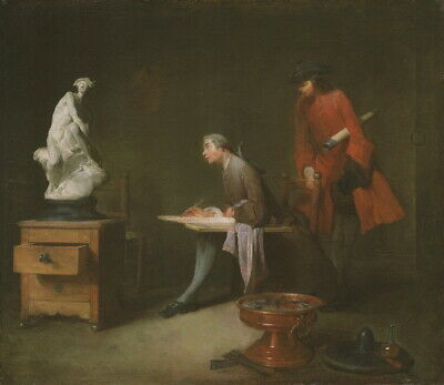 Jean Baptiste Simeon Chardin The Drawing Lesson Giclee Canvas Print Poster