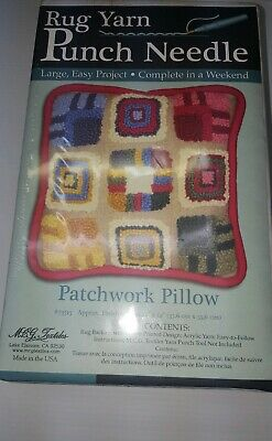 MCG Textiles Rug Yarn Punch Needle Kit Patchwork Pillow NEW