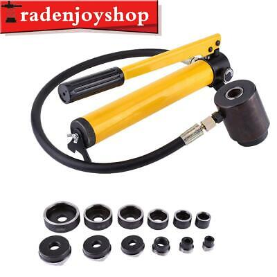 New 10 Ton Hydraulic Knockout Punch Holesaw Set 6 Die Electrical Kit Hand Tools