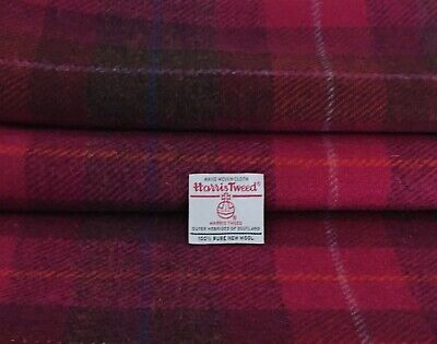 Harris Tweed Fabric Pink 100% Wool Tartan Check Craft Quilting Sewing & Labels