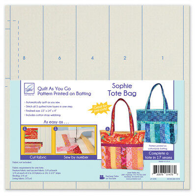 June Tailor JT-1476 Quilt As You Go Sophie Tote Bag - Pattern Printed on Batting