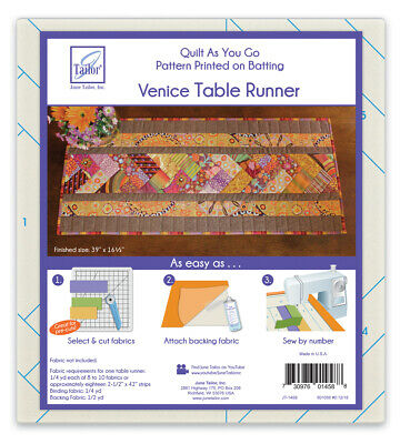 June Tailor JT-1458 Quilt as You Go Venice Table Runner Pre-Printed Pattern