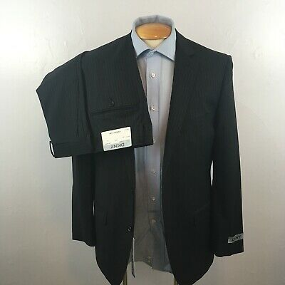 New dkny 2 piece mens suit black gray stripes slim fit  nwt 40s 100% wool ea0016